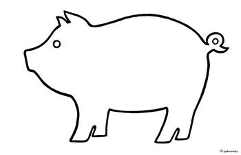 pig puppet template pig black white outline shadow puppet template