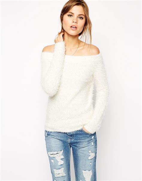 shoulder knit asos asos shoulder sweater in fluffy knit at asos