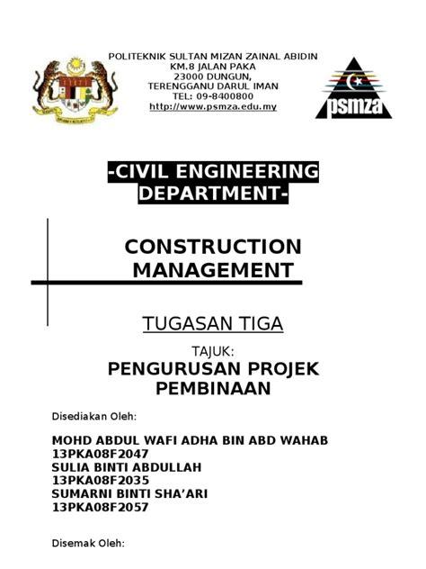 pengurusan projek pembinaan psmza