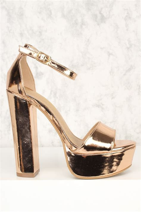 chunky heel high heels gold open toe platform chunky high heels