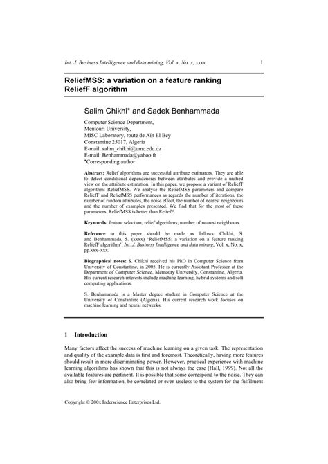 (PDF) ReliefMSS: A variation on a feature ranking ReliefF