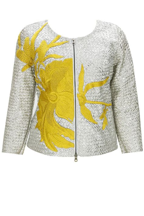 Patchwork Sler - show stopper silver yellow flower patchwork jacket by