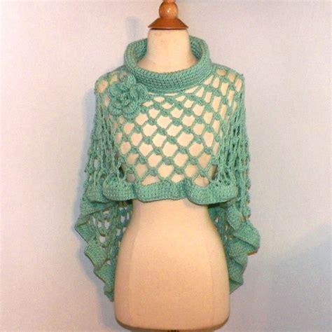 crochet shawls crochet shawl wrap pattern capelet boho poncho ocean blue cape cowl turtle neck shawl long