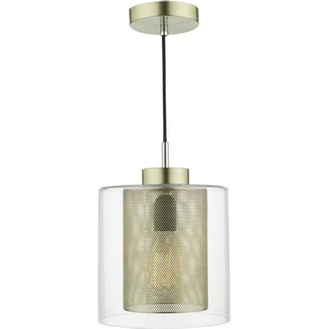 contemporary ceiling pendant with brass mesh shade and