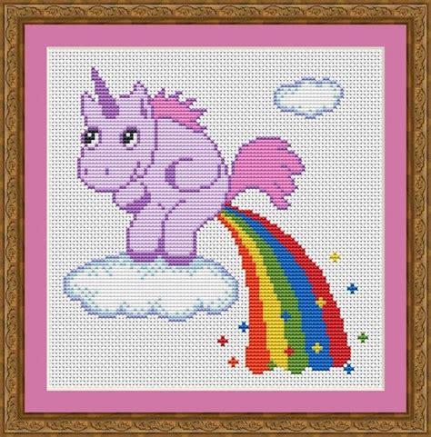 unicorn needlepoint pattern funny cross stitch pdf pattern unicorn pooping rainbow