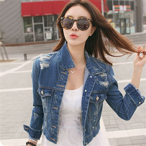 Outer Coat Jaket Wanita Outerwear Jaket bestitem new fashion jacket denim jacket ripped jean jacket fashionable outerwear
