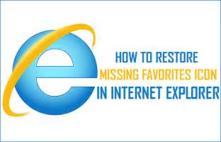 how to restore missing favorites icon in explorer
