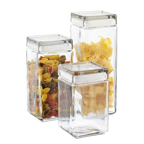 glass kitchen storage canisters anchor hocking stackable square glass canisters the