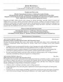 Education Resume Templates by Free Elementary Educator Resume Exle