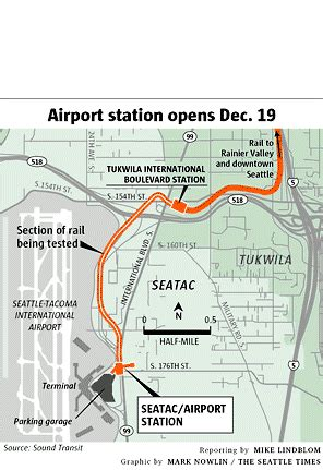 seattle map airport to downtown light rail to airport to begin dec 19 the seattle times