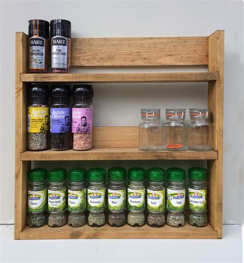 spice rack 3 tiers reclaimed wood rustic kitchen storage