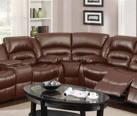 bonded leather sectional sofa with recliners 9242 reclining sectional sofa in brown bonded leather w
