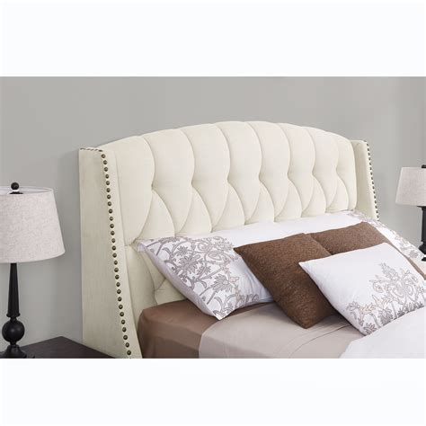 bedroom modern ivory linen upholstered tufted wingback