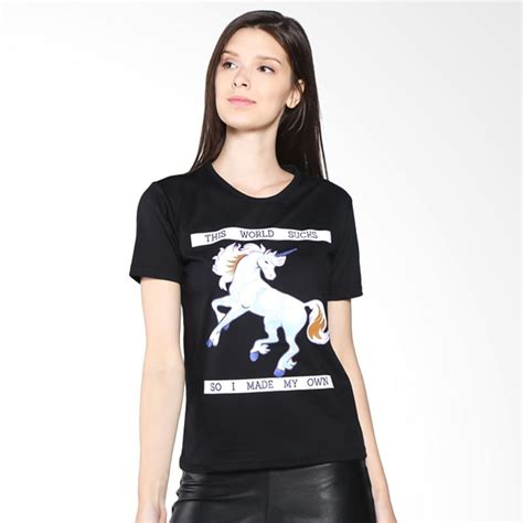Kaos Cewek Branded Tumblrtee jual jclothes kaos wanita branded unicorn hitam harga kualitas terjamin