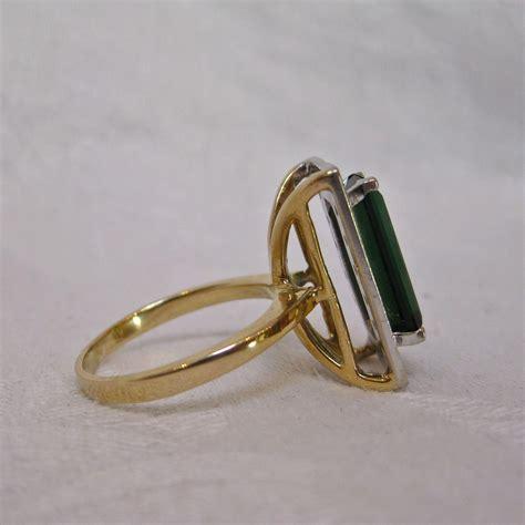 14k gold green emerald cut tourmaline and ring