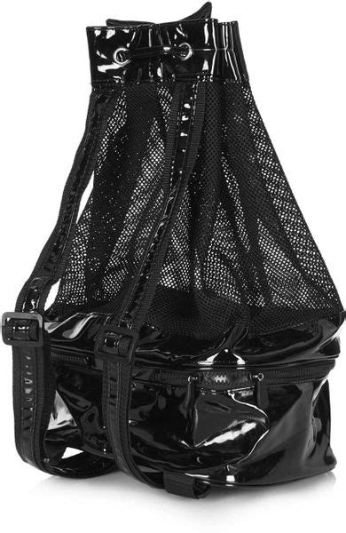 Patent 70s Luggage At Topshop by Topshop Mesh Patent Duffle Bag In Black Lyst