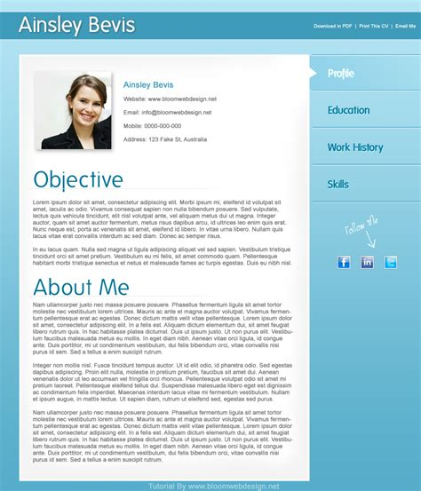 Design a Professional Resume/CV Template in Photoshop