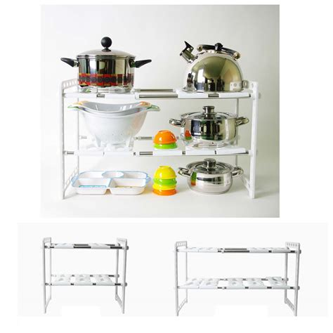 Kitchen Sink Storage Extendable Sink Customize Shelf Kitchen Organize Storage Rack Holder White