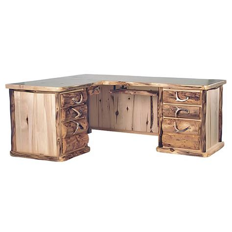 small l shaped desk with drawers aspen mountain l shaped 7 drawer log desk home