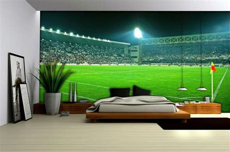 Boys Bedroom Wall Stickers football stadium wallpaper mural 306ve football bedrooms