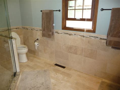Travertine Tile Ideas Bathrooms Travertine Tile Modern Bathroom Cleveland By Architectural Justice