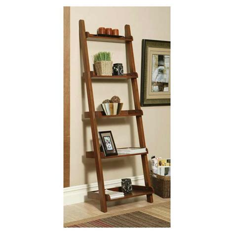Innovation Leaning Ladder 5 Shelf Bookcase Espresso Leaning Ladder 5 Shelf Bookcase Espresso