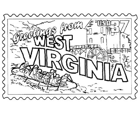coloring pages virginia usa printables west virginia state st us states