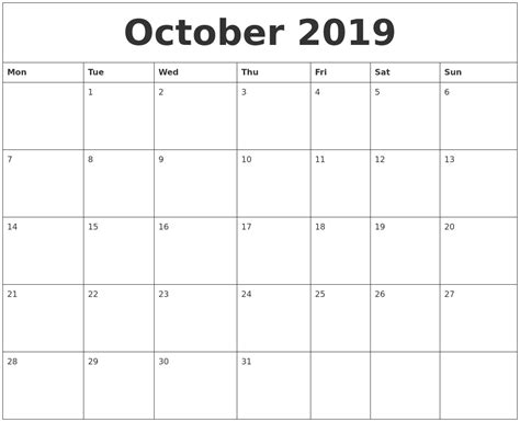 printable monthly calendar 2019 october 2019 free printable monthly calendar