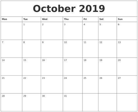 october weekly printable calendar october 2019 free printable monthly calendar