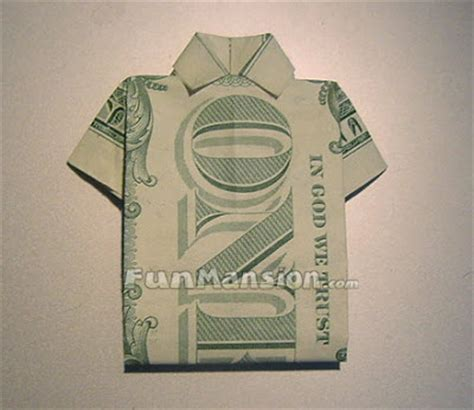T Shirt Dollar Bill Origami - how to make origami t shirt money origami
