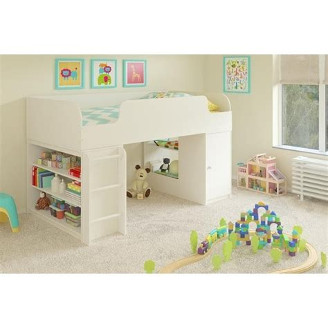 loft bed with bookcase loft bed with bookcase and box in white 5861015pcom