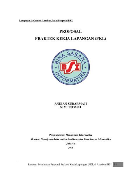format makalah pkl panduan proposal pkl bsi 2015