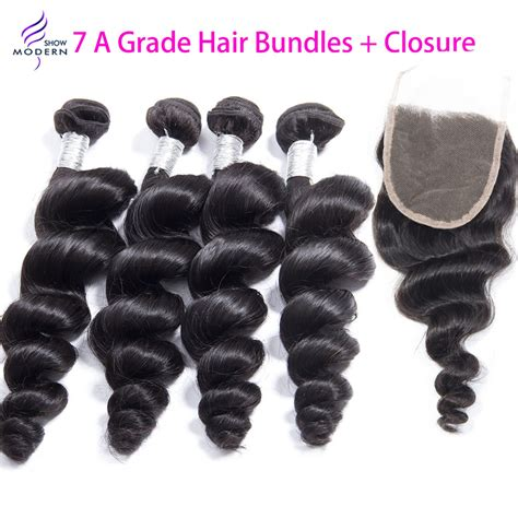 4 bundles with closure hair with closure