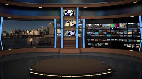Animated Virtual Set Studio Animset 004 Wide Shot News Studio Desk