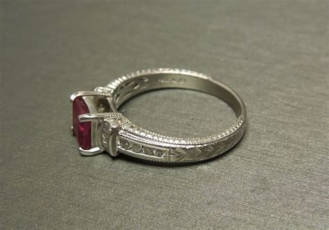 Rubby Square 14k deco motif 1 79tcw square ruby engagement