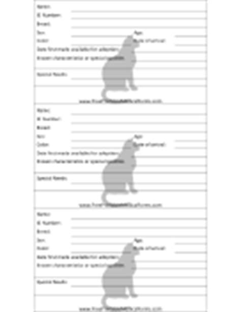cat adoption event cage card template veterinary and animal forms