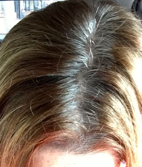 high lighted hair with gray roots gray roots