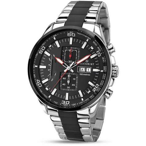 accurist s 100m two tone chronograph watches