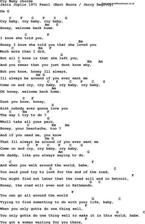 testo in baby song lyrics with guitar chords for cry baby janis joplin