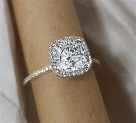 halo engagement ring cushion cut forever by