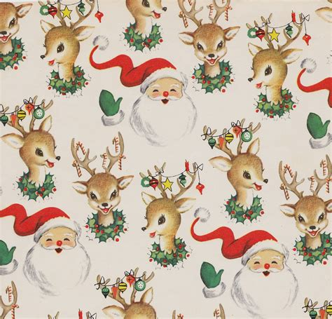 free printable vintage wrapping paper vintage christmas wrap santa and reindeer heather david