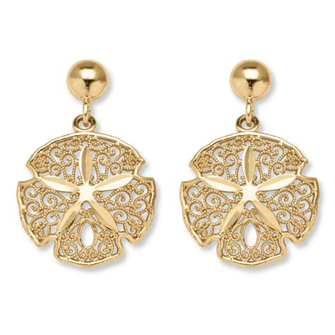 Sand Dollar Earring 10k yellow gold sand dollar drop earrings at palmbeach jewelry