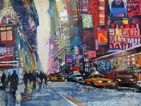 acrylic painting nyc heading downtown nyc painting by patti mollica