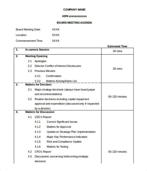 high quality board meeting agenda template with time slot