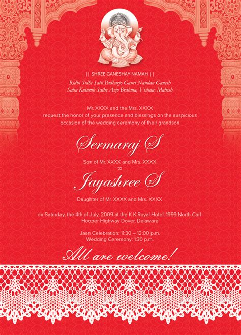 Indian Wedding Card Template indian wedding card 01 3 colors invitation templates