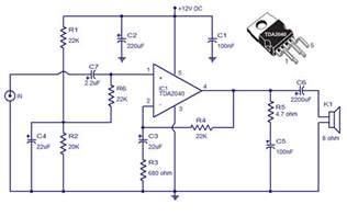 tda2040 car stereo amplifier circuit simple schematic diagram
