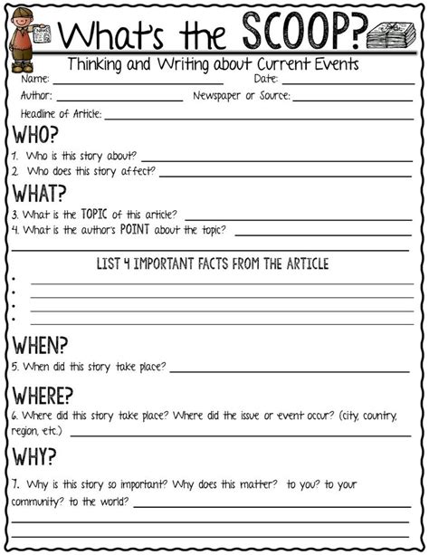 Current Events Worksheet Pdf