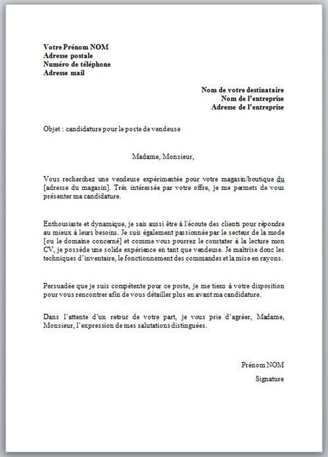 Lettre De Motivation Vendeuse Word conseils mod 232 le de lettre de motivation vendeuse