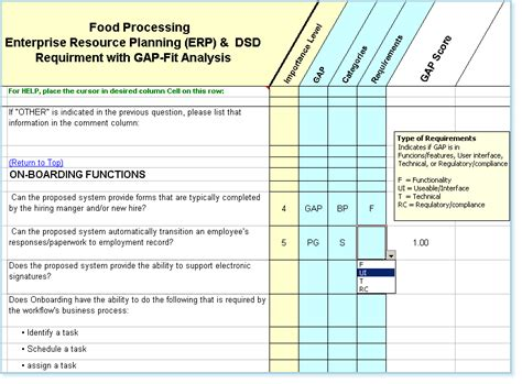 Food Processing Erp With Dsd Software Requirements Checklist Erp Requirements Template