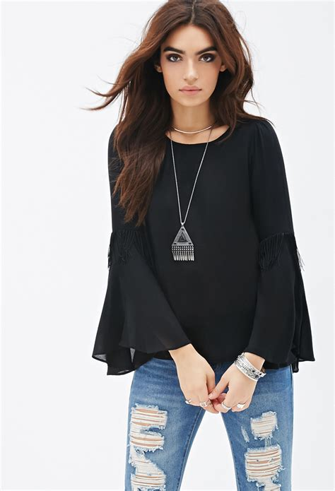 Bell Sleeve Top Original lyst forever 21 fringed bell sleeve top you ve been